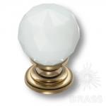 9992-102 Ручка кнопка с белым кристаллом эксклюзивная коллекция, глянцевое золото