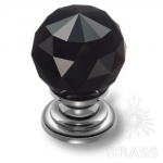 9992-433 Ручка кнопка с черным кристаллом эксклюзивная коллекция, глянцевый хром