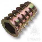 Втулка М10 х 25 мм с шестигранным отверстием, цамак, цвет жёлтый цинк, 12.10.219-0