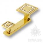 Крючок двухрожковый, латунь с кристаллами Swarovski, глянцевое золото 24K, 0471-030-2