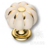 0719-030 Ручка кнопка керамика с металлом, цвет белый