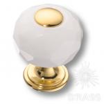 0737-3019-mini-WHITE Ручка кнопка, латунь с белым кристаллом, глянцевое золото