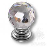 9992-400 Ручка кнопка с кристаллом эксклюзивная коллекция, глянцевый хром